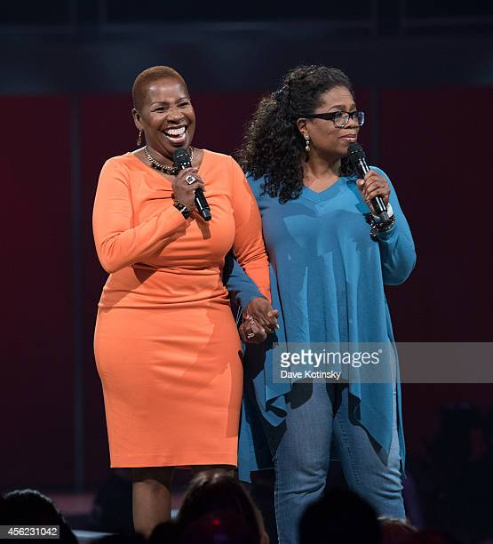 Iyanla Vanzant and Oprah Winfrey attend the Oprah's The Life You Want Weekend Day 2 at Prudential Center on September 27 2014 in Newark New Jersey