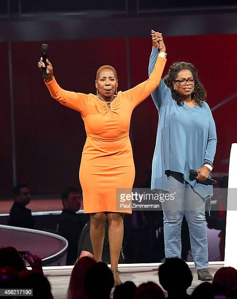 Iyanla Vanzant and Oprah Winfrey speak at Oprah's The Life You Want Weekend at Prudential Center on September 27 2014 in Newark New Jersey