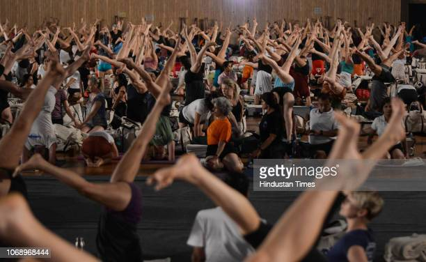 Iyengar Memorial Goya Institute organised a practical session of Iyengar Yoga for 1200 students from 56 countries at Balewadi sports complex, on...