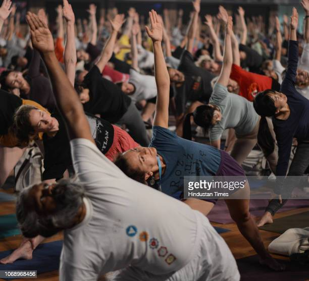 Iyengar Memorial Goya Institute organises a practical session of Iyengar Yoga for 1200 students from 56 countries at Balewadi Sports Complex, on...
