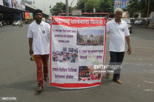 Iyer reached at Teen Haath Naka Thane enroute his padyatra to Azad Maidan in protest against the government's changing rules to affiliate schools in...