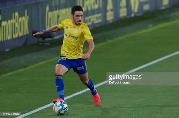 Iza of Cadiz CF controls the ball during the La Liga Smartbank match between Cadiz CF and CF Fuenlabrada at Estadio Ramon de Carranza on July 11 2020...