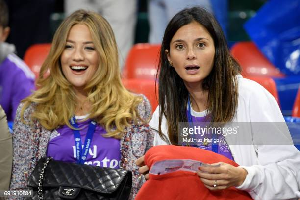 Izabel Andrijanic girlfriend of Mateo Kovacic of Real Madrid and Macarena Rodriguez girlfriend of Lucas Vazquez of Real Madrid look on prior to the...