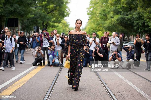 Izabel Goulart and a crowd of photographers before the Fendi show during Milan Fashion Week Spring/Summer 2017 on September 22 2016 in Milan Italy