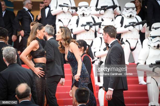 Izabel Goulart and Alessandra Ambrosio attends 'Solo A Star Wars Story' Red Carpet during the 71st annual Cannes Film Festival at Palais des...