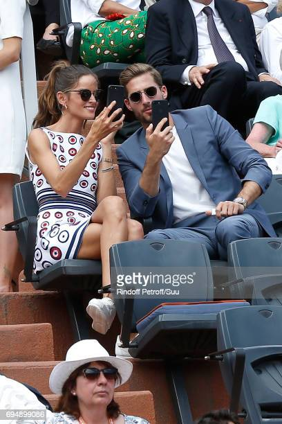 Izabel Goulart and Football player Kevin Trapp attend the Men Final of the 2017 French Tennis Open Day Fithteen at Roland Garros on June 11 2017 in...