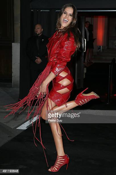Izabel Goulart arrives at Vogue 95th Anniversary Party as part of the Paris Fashion Week Womenswear Spring/Summer 2016 on October 3 2015 in Paris...