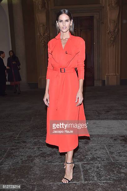 Izabel Goulart attends Vogue Cocktail Party honoring photographer Mario Testino on February 27 2016 in Milan Italy