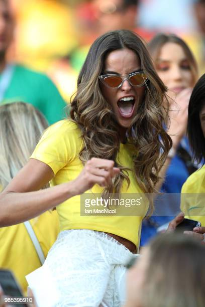 Izabel Goulart is seen during the 2018 FIFA World Cup Russia group E match between Serbia and Brazil at Spartak Stadium on June 27, 2018 in Moscow,...