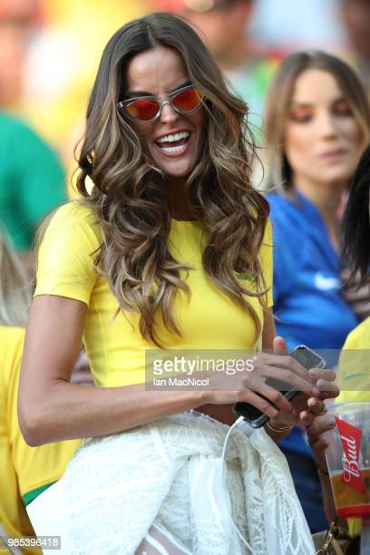 Izabel Goulart is seen during the 2018 FIFA World Cup Russia group E match between Serbia and Brazil at Spartak Stadium on June 27 2018 in Moscow...