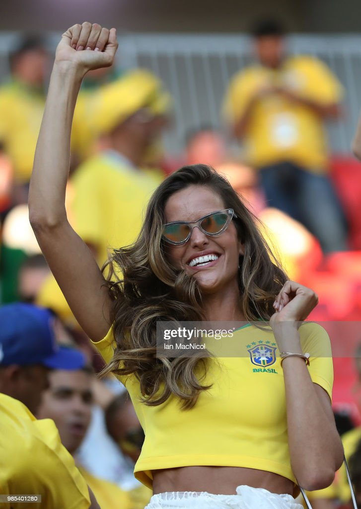 Izabel Goulart is seen during the 2018 FIFA World Cup Russia group E match between Serbia and Brazil at Spartak Stadium on June 27, 2018 in Moscow, Russia.