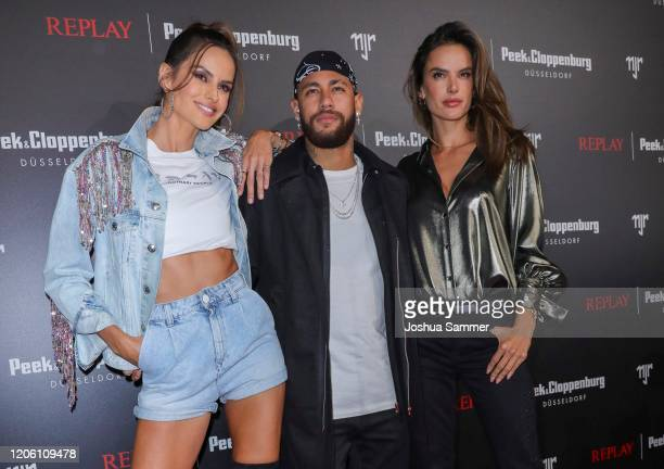 Izabel Goulart, Neymar Jr and Alessandra Ambrosio attend the launch event for the new Capsule Collection Neymar Jr. X Replay at Weltstadthaus on...
