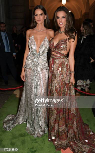 Izabel Goulart wearing ETRO and Alessandra Ambrosio wearing ETRO attend The Green Carpet Fashion Awards, Italia 2019, hosted by CNMI & Eco-Age, at...