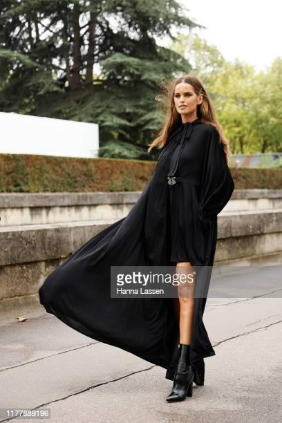 Izabel Goulart wearing Valentino dress outside Valentino during Paris Fashion Week Womenswear Spring Summer 2020 on September 29, 2019 in Paris,...
