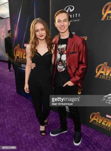 Izabela Vidovic and actor Hayden Byerly attend the Los Angeles Global Premiere for Marvel Studios' Avengers Infinity War on April 23 2018 in...