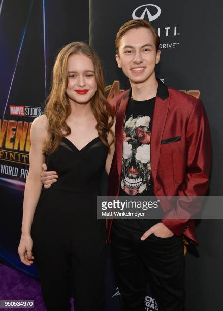 Izabela Vidovic and actor Hayden Byerly attends the Los Angeles Global Premiere for Marvel Studios' Avengers Infinity War on April 23 2018 in...