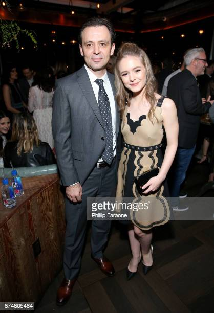 Izabela Vidovic and guest attend the HFPA's and InStyle's Celebration of the 2018 Golden Globe Awards Season and the Unveiling of the Golden Globe...