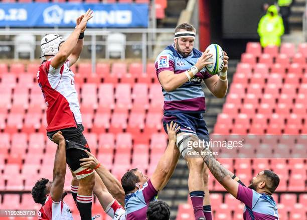 Izack Rodda of the Reds wins possession during the Super Rugby match between Emirates Lions and Reds at Emirates Airline Park on February 08, 2020 in...