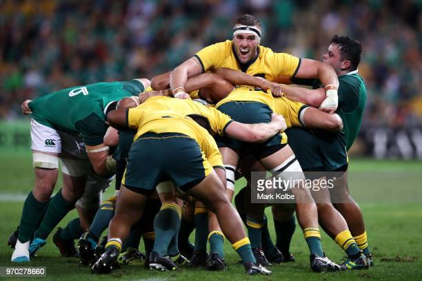 Izack Rodda of the Wallabies shouts instructions to his team during the International Test match between the Australian Wallabies and Ireland at...