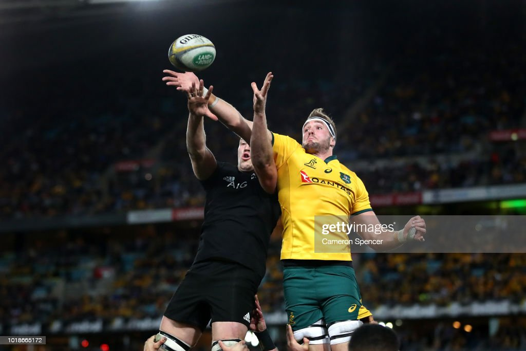 Izack Rodda of the Wallabies takes a lineout ball during The Rugby Championship Bledisloe Cup match between the Australian Wallabies and the New Zealand All Blacks at ANZ Stadium on August 18, 2018 in Sydney, Australia.