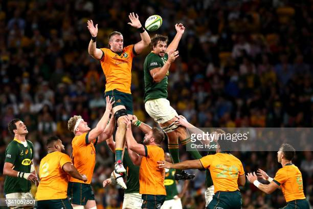 Izack Rodda of the Wallabies wins lineout ball against Eben Etzebeth of South Africa during The Rugby Championship match between the Australian...