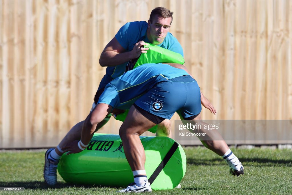 Izack Rodda undertakes a training drill during an Australian Wallabies training session at Linwood Rugby Club on August 22, 2017 in Christchurch, New Zealand.