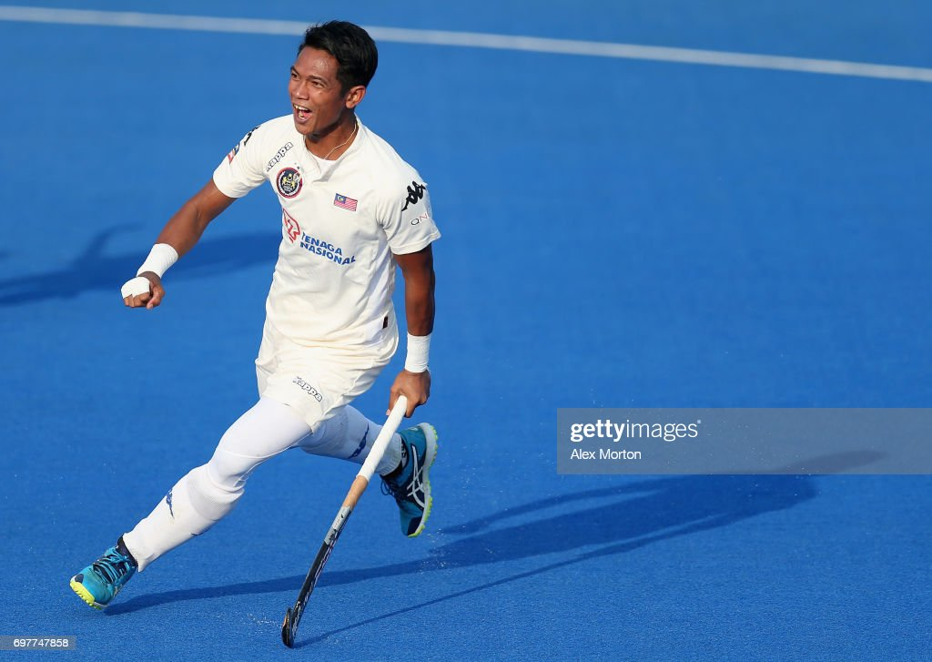 Izad Jamaluddin of Malaysia celebrates scoring his teams first goal during the Pool A match between South Korea and Malaysia on day five of Hero Hockey World League Semi-Final at Lee Valley Hockey and Tennis Centre on June 19, 2017 in London, England.