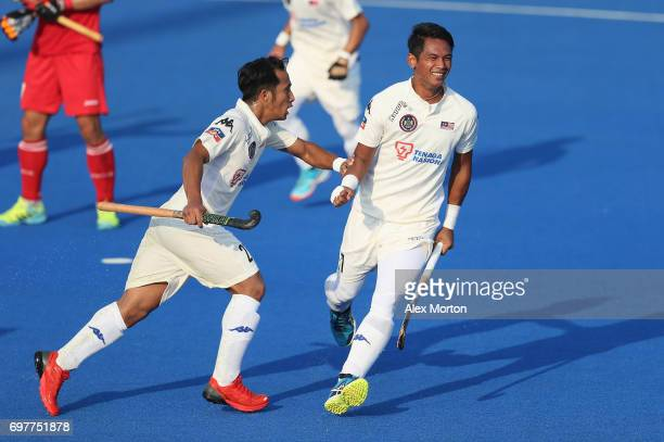 Izad Jamaluddin of Malaysia celebrates scoring his teams first goal during the Pool A match between South Korea and Malaysia on day five of Hero...