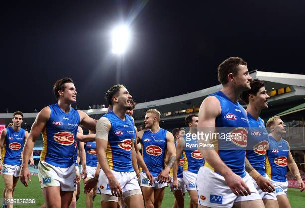 Izak Rankine of the Suns celebrates victory after the round 7 AFL match between the Sydney Swans and the Gold Coast Suns at Sydney Cricket Ground on...