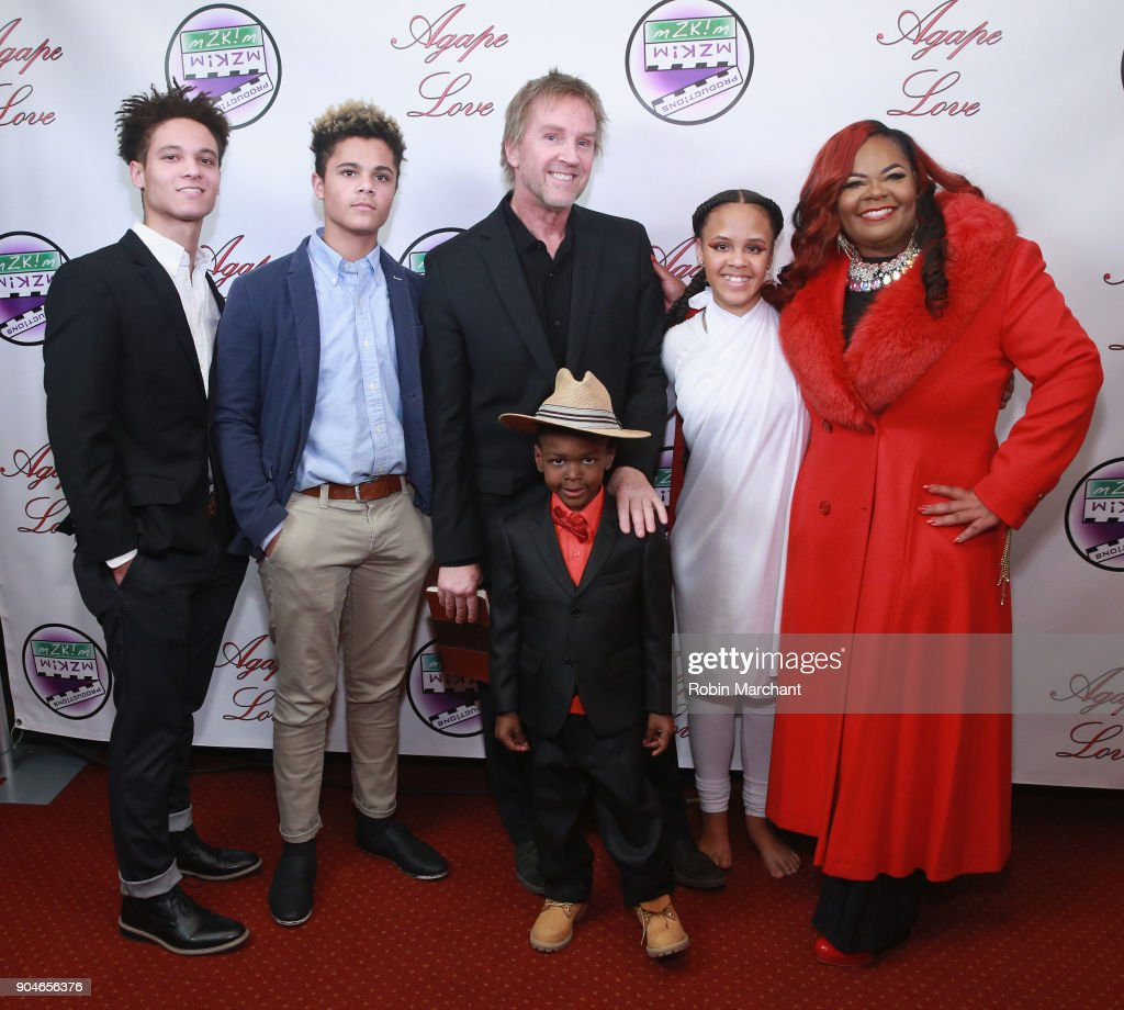Izak Zulkowski, Jakab Zulkowski, Alan Zulkowski, Giovanni Thomas Zulkowski, Chloe Zulkowski and Kimberley T. Zulkowski attends Agape Love Red Carpet on January 13, 2018 in Milwaukee, Wisconsin.
