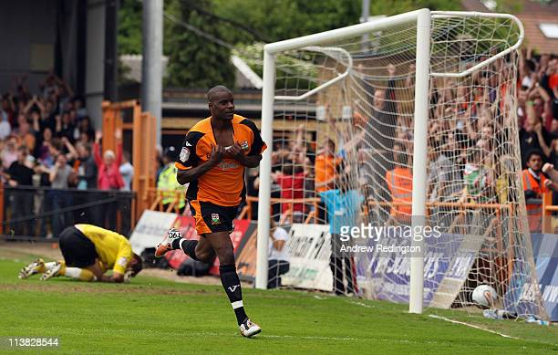 Izale McLeod of Barnet celebrates after making it 10 during the npower League Two match between Barnet and Port Vale at Underhill Stadium on May 7...