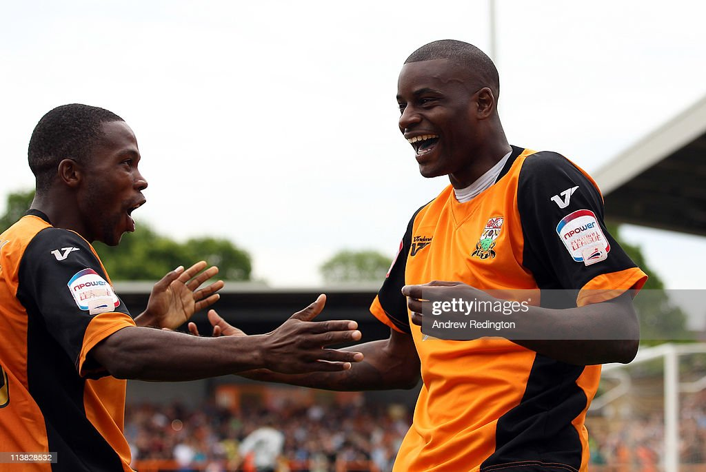 Izale McLeod of Barnet (R) celebrates with Mark Marshall after making it 1-0 during the npower League Two match between Barnet and Port Vale at Underhill Stadium on May 7, 2011 in Barnet, England.