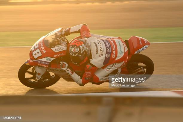 Izan Guevara of Spain and GASGAS Gaviota Aspar rounds the bend during the Moto2 & Moto3 Winter Tests at Losail Circuit on March 21, 2021 in Doha,...