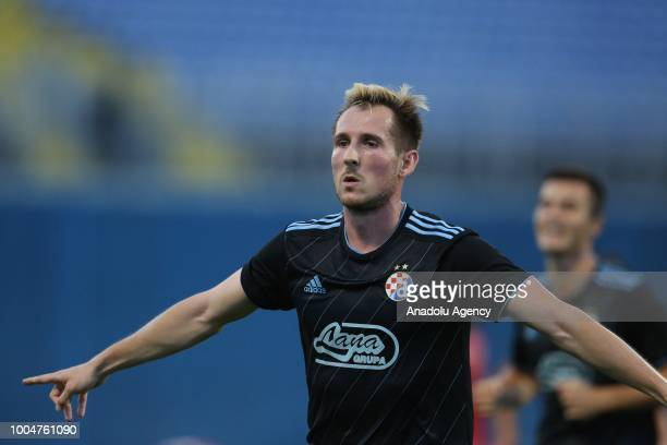 Izet Hajrovic of Dinamo Zagreb celebrates after scoring a goal during UEFA Champions League 2nd Qualifying Round first leg match between Dinamo...