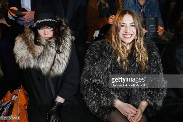 Izia Higelin and Isabelle Adjani attend the Etam Live Show Lingerie at Bourse du Commerce on February 26 2013 in Paris France