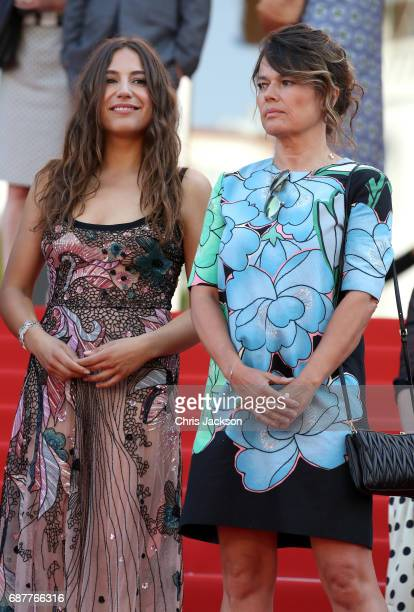 Izia Higelin and Kristina Larsen depart after the Rodin screening during the 70th annual Cannes Film Festival at Palais des Festivals on May 24 2017...