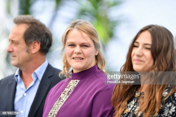 Izia Higelin Severine Caneele and Vincent Lindon attend the 'Rodin' photocall during the 70th annual Cannes Film Festival at Palais des Festivals on...
