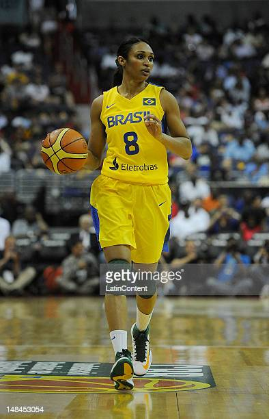 Iziane Castro Marques from Brazil brings the ball up the court during a friendly match between USA and Brazil at Verizon Arena prior to the Olympic...