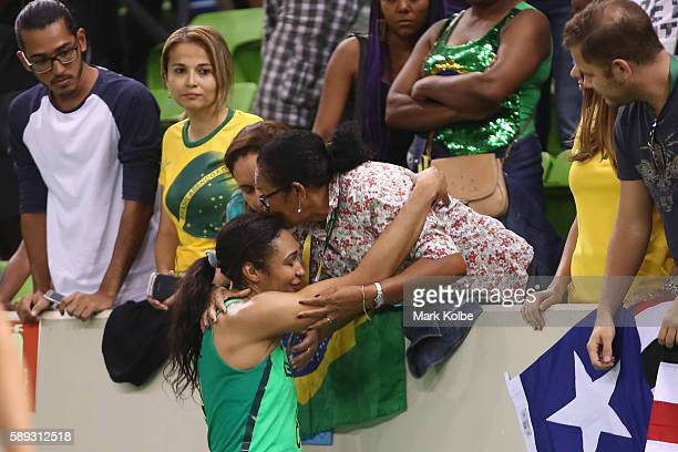 Iziane Castro of Brazil is comforted by her mother after defeat during the Women's round Group A basketball match between Brazil and Turkey on Day 7...