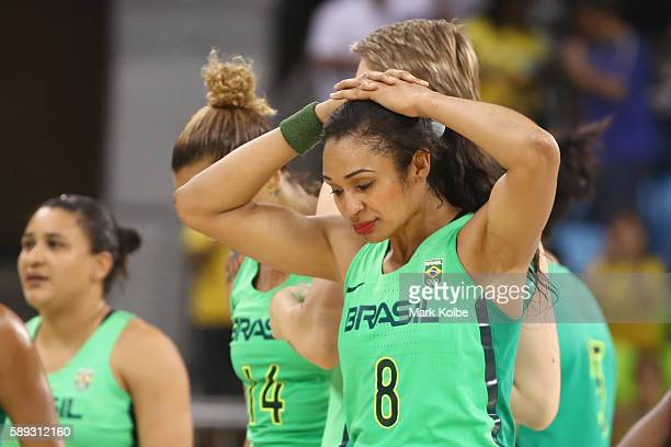 Iziane Castro of Brazil looks dejected after defeat during the Women's round Group A basketball match between Brazil and Turkey on Day 7 of the Rio...