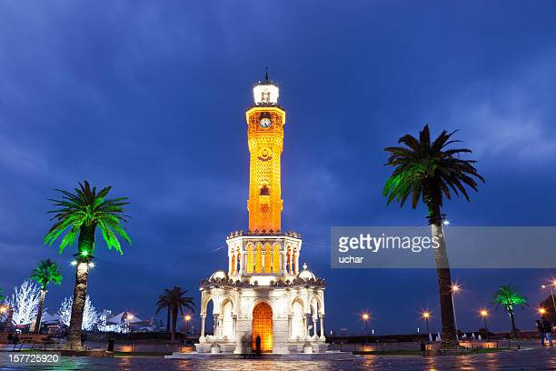 izmir clock tower at night - izmir stock pictures, royalty-free photos & images