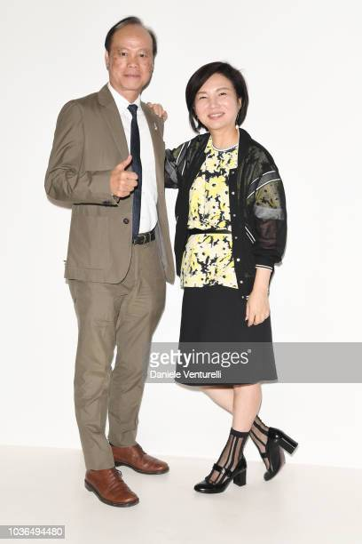 Izumi Ogino and guest are seen backstage ahead of the Anteprima show during Milan Fashion Week SS 2019 on September 20 2018 in Milan Italy