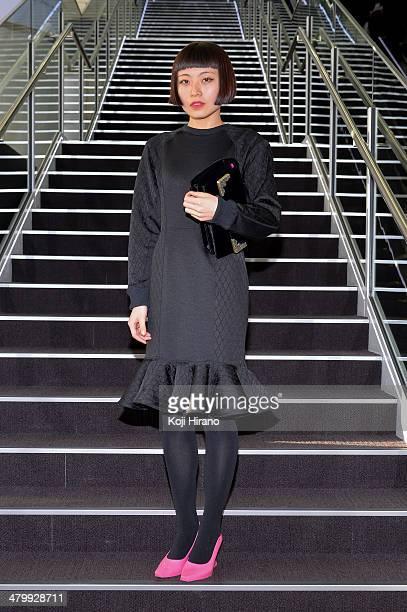 Izumi Udagawa wears a dress by GVGV at MercedesBenz Fashion Week Tokyo Autumn/Winter 2014 at Shibuya Hikarie on March 21 2014 in Tokyo Japan