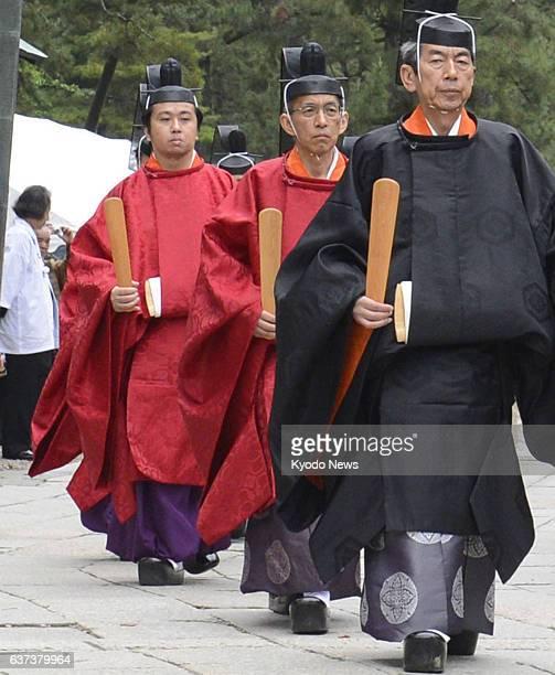 Izumo Japan File photo taken May 11 shows priest Kunimaro Senge and other priests during a rite at Izumotaisha or Izumo grand shrine in Shimane...