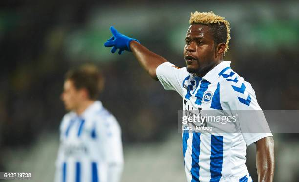 Izunna Uzochukwu of OB Odense gestures during the Danish Alka Superliga match between OB Odense and Randers FC at EWII Park on February 20 2017 in...