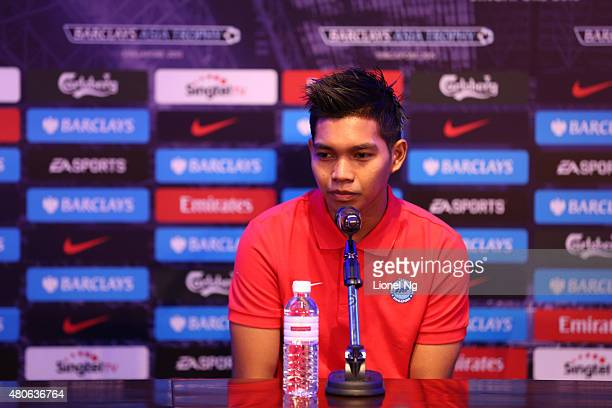 Izwan Mahbud of Singapore Select XI speaks during the Barclays Asia Trophy Press Conference at Grand Hyatt Hotel on July 14 2015 in Singapore