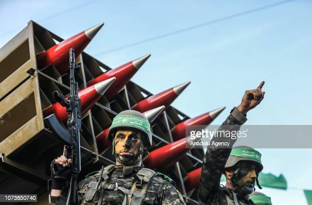 Izz adDin alQassam Brigades military wing of Hamas group attend a military parade within the 31st anniversary of Hamas on December 15 2018 in Khan...