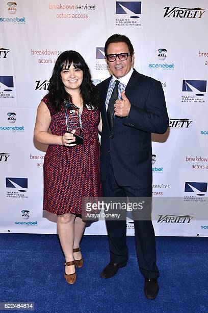 Izzy Arias and Frank Stallone attend the The TMA 2016 Heller Awards on November 10 2016 in Beverly Hills California