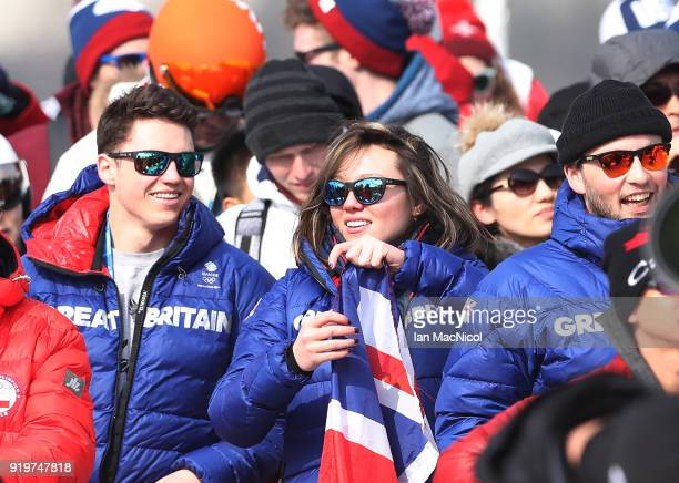 Izzy Atkin of Great Britain is seen during the Freestyle Skiing Men's slopestyle Aerial Final on day nine of the PyeongChang 2018 Winter Olympic...