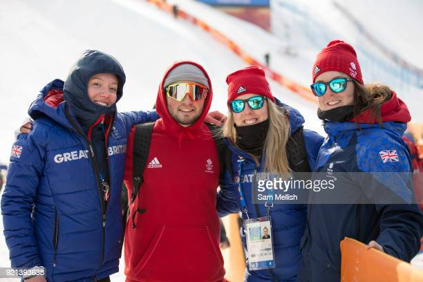 Izzy Atkin Rowan Coultas Katie Summerhayes and Molly Summerhayes Great Britain during the men's skiing halfpipe Qualification at the Pyeongchang 2018...